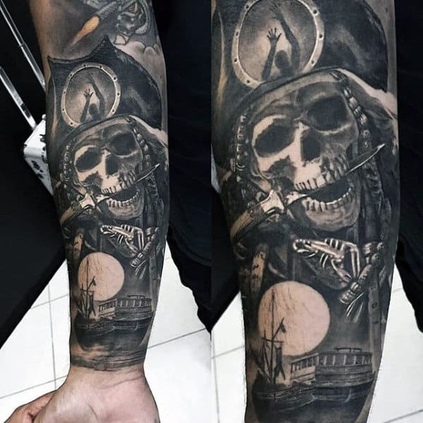 Male Forearm Sleeve Tattoo With Sweet Pirate Themed Design