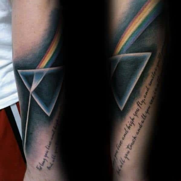 Male Forearm Song Lyrics Dark Side Of The Moon Tattoo Design Inspiration