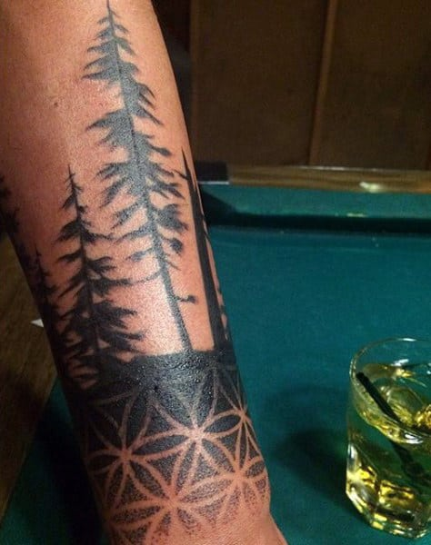 Male Forearm Symmetrical Tattoo Designs Of Sacred Geometry