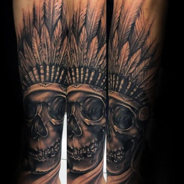 Male Forearm Tattoo Of Indian Skull