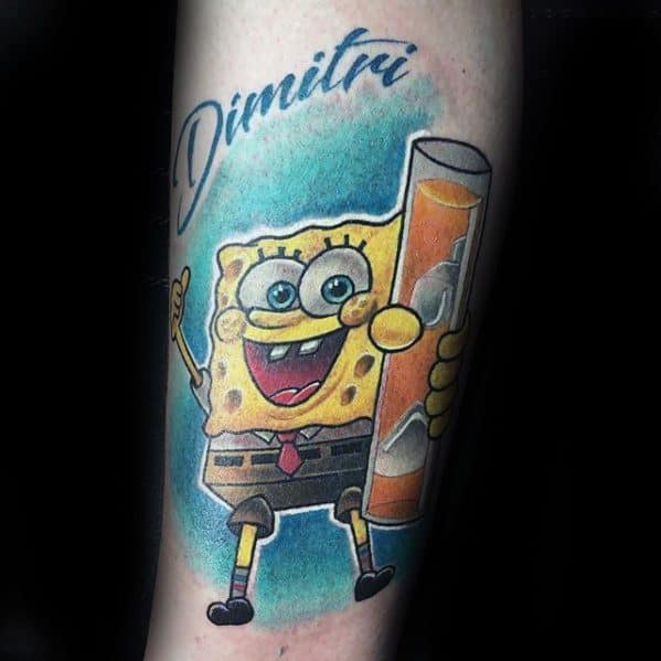 Male Forearm Tattoo With Spongebob Design