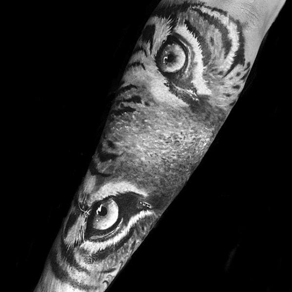 Male Forearm Tattoo With Tiger Eyes Design