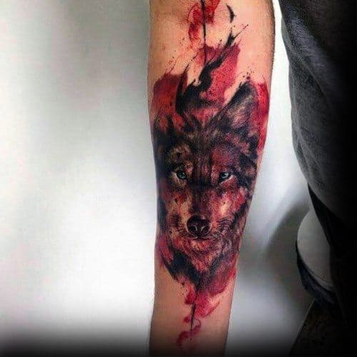 Male Forearm Wolf Watercolor Tattoo Design Inspiration