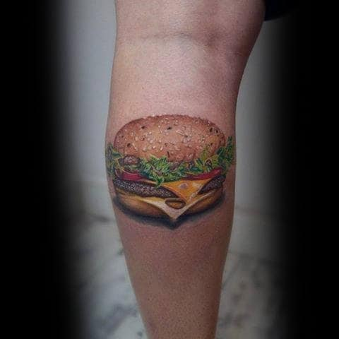 Male Forearms 3D Cheese Burger Tattoo