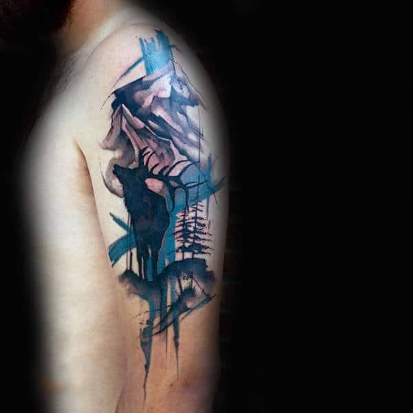 Male Forearms Antler And Watercolor Tree Tattoo