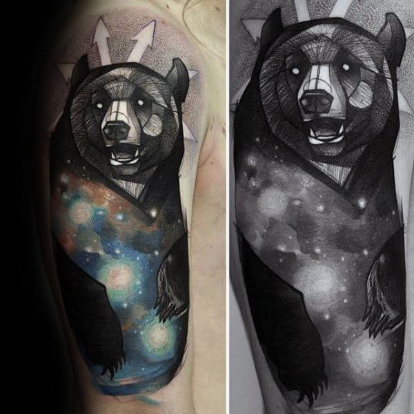 Male Forearms Bear With Astronomy Tattoo