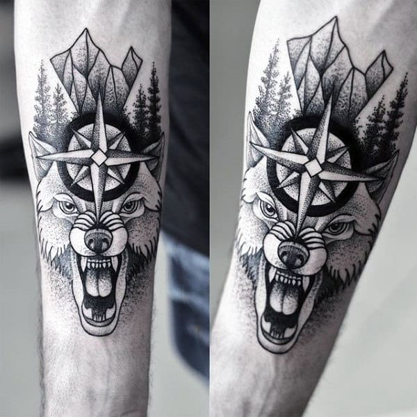 Male Forearms Beast And Religious Sign Dotwork Tattoo