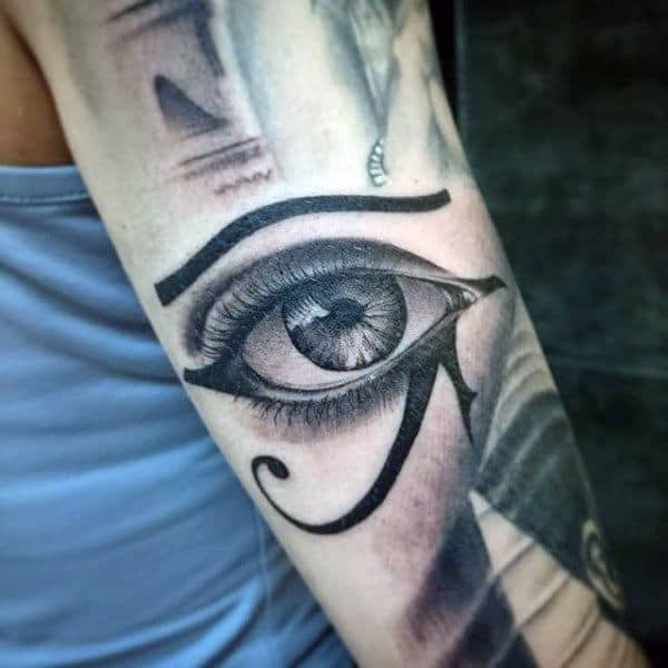 Male Forearms Black And Grey Crystal Eye Tattoo