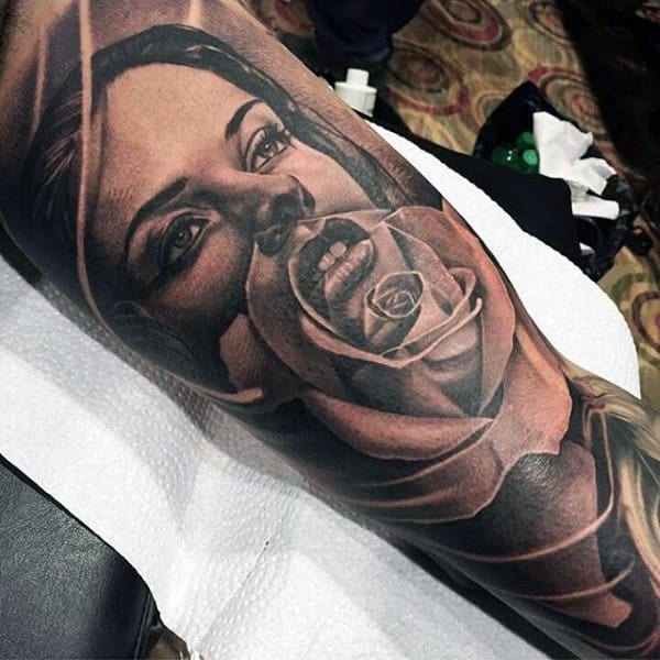 Male Forearms Black And Grey Lady With Transparent Rose Tattoo
