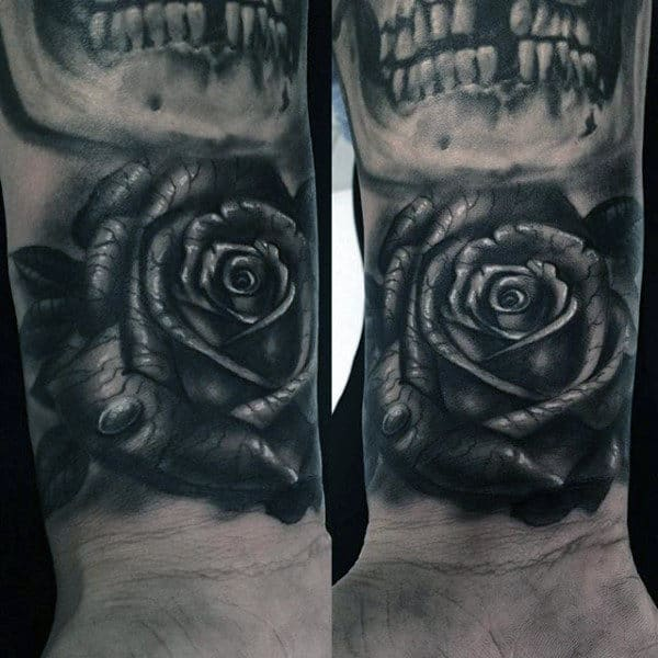 Male Forearms Black And Grey Rose With Dewdrop Tattoo