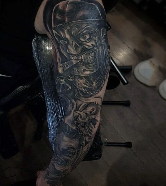 Male Forearms Black And Grey Terrifying Men Tattoo