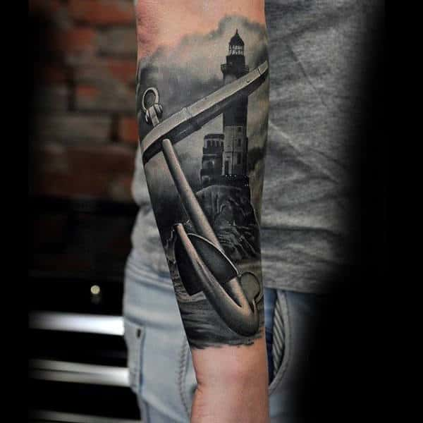 Male Forearms Black And White Anchor And Lighthouse Tattoo