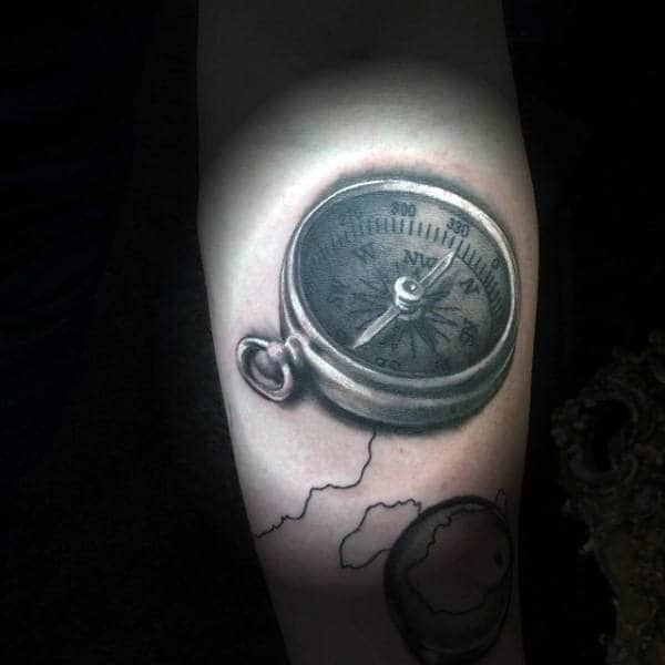 Male Forearms Black And White Compass Tattoo