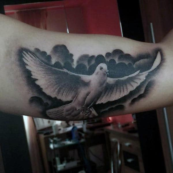 Male Forearms Black And White Dove Peace Tattoo