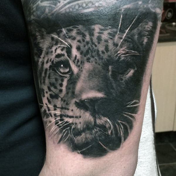 Male Forearms Black And White Leopard Tattoo