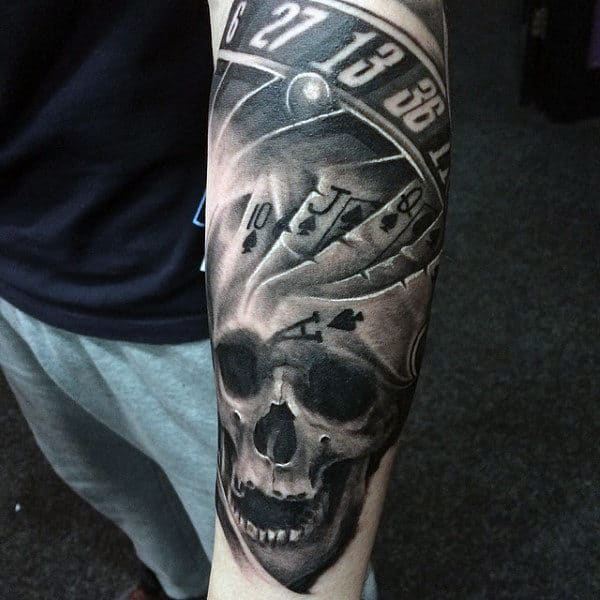 Male Forearms Black And White Playing Cards And Skull Tattoo