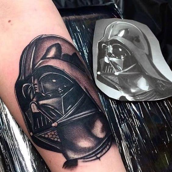 Male Forearms Black And White Viking Helmet Tattoo
