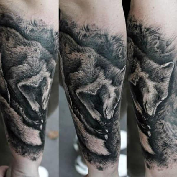Male Forearms Black Dotted Fox Tattoo