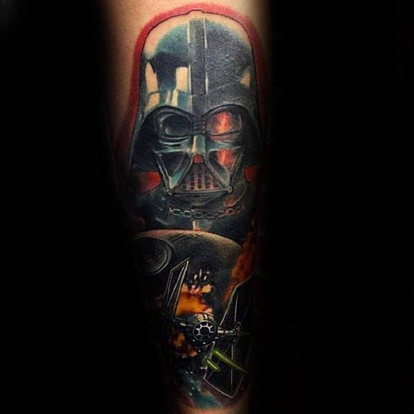 Male Forearms Blazing Star Wars Tattoo