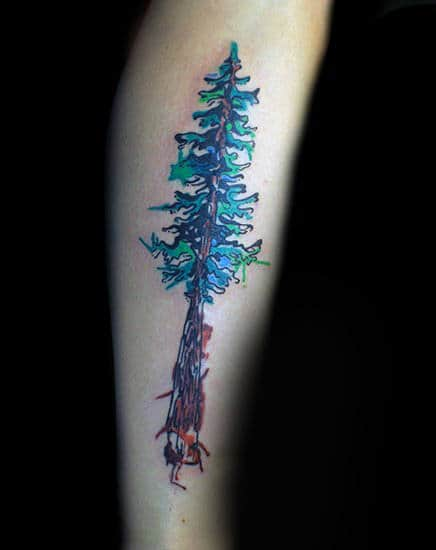 Male Forearms Blue Green Watercolor Tree Tattoo