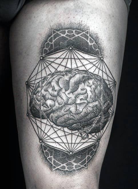 Male Forearms Brain Inside Ten Sided Figurine Tattoo