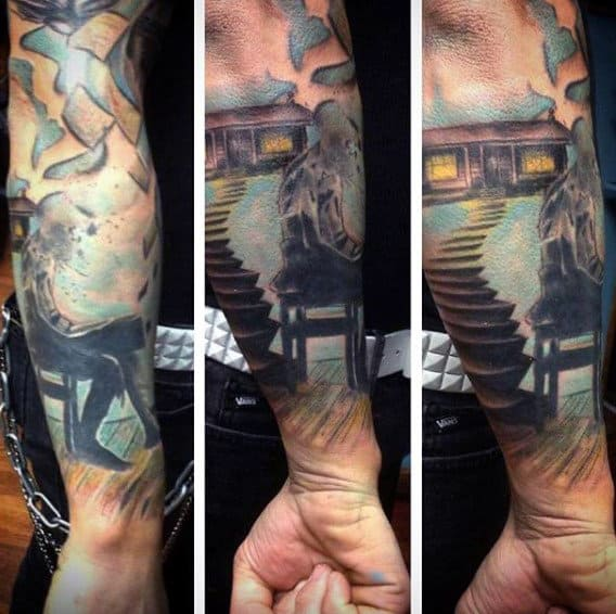 Male Forearms Burning Book And Staircase Tattoo