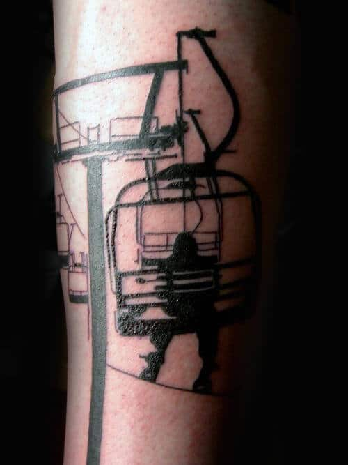 Male Forearms Cable Car And Snowboard Tattoo