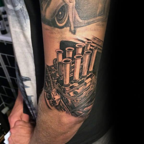 Male Forearms Charged Engine Tattoo