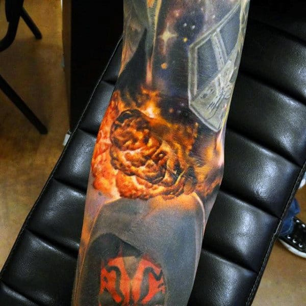 Male Forearms Cool Explosion Fireball Tattoo