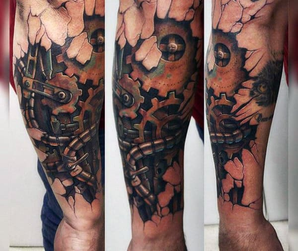 Male Forearms Cracked Skin Steampunk Tattoo