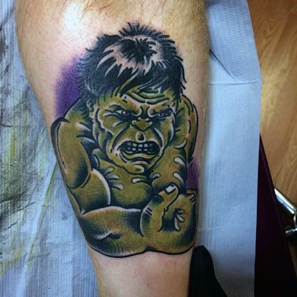 Male Forearms Cute Hulk Tattoo