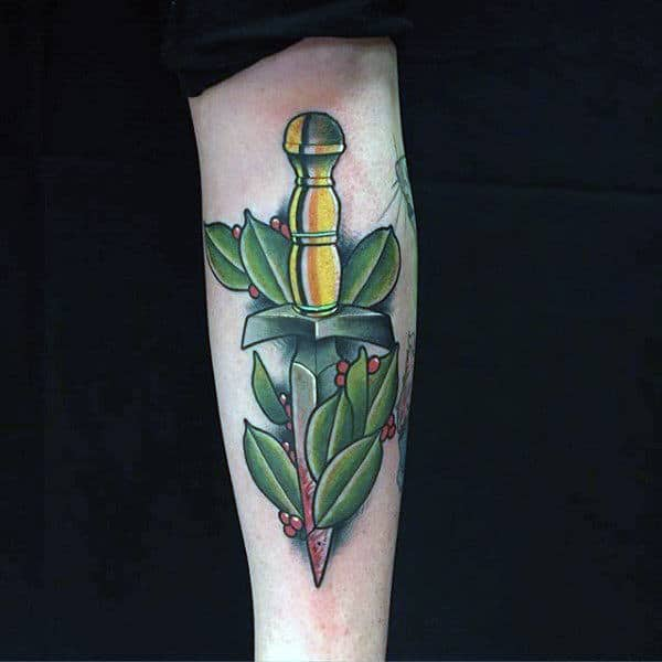 Male Forearms Dagger And Leaves Tattoo Designs