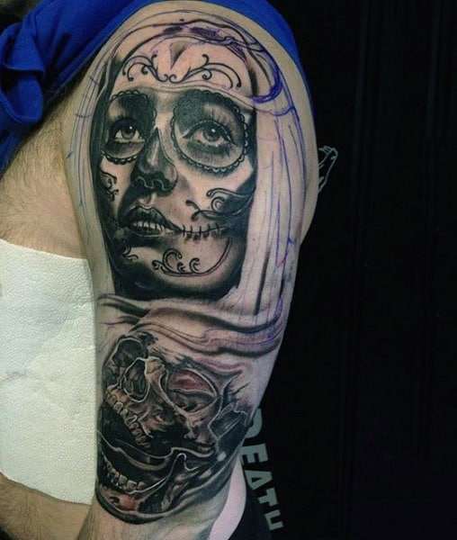 Male Forearms Dusty Grey Day Of The Dead Girl And Skull Tattoo