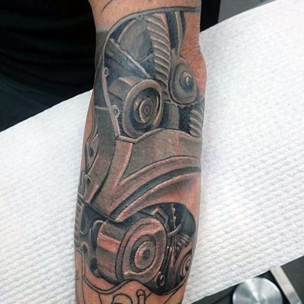 Male Forearms Engine And Wheels Tattoo Design Ideas