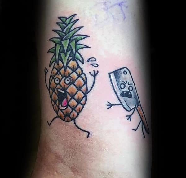 Male Forearms Escaping Pineapple Culinary Tattoo
