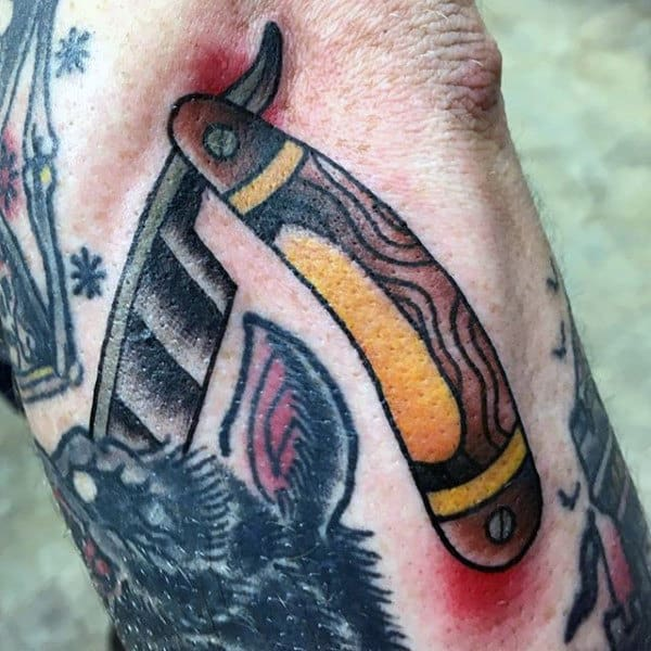 Male Forearms Fantastic Straight Razor Tattoo