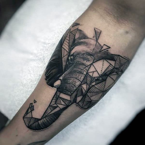 Male Forearms Geomterical Pattern Black And Grey Elephant Tattoo
