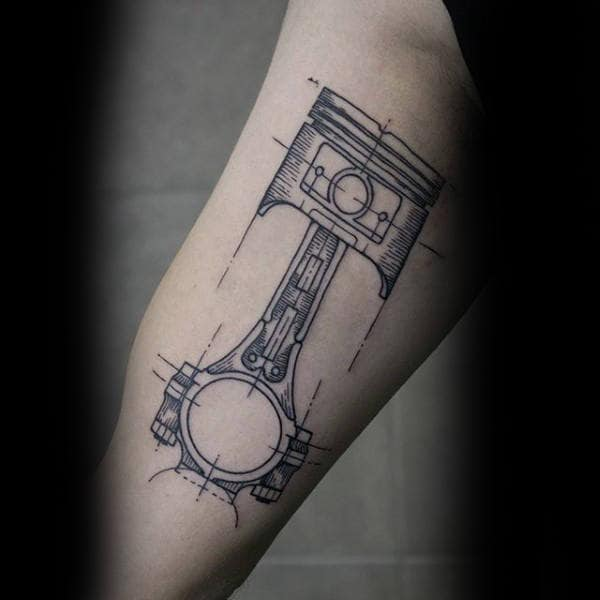 Male Forearms Graphical Engine Tattoo Of Piston