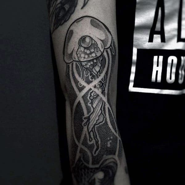 Male Forearms Gray Jellyfish Tattoo