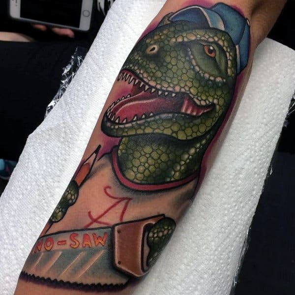 Male Forearms Green Dotted Dinosaur Tattoo