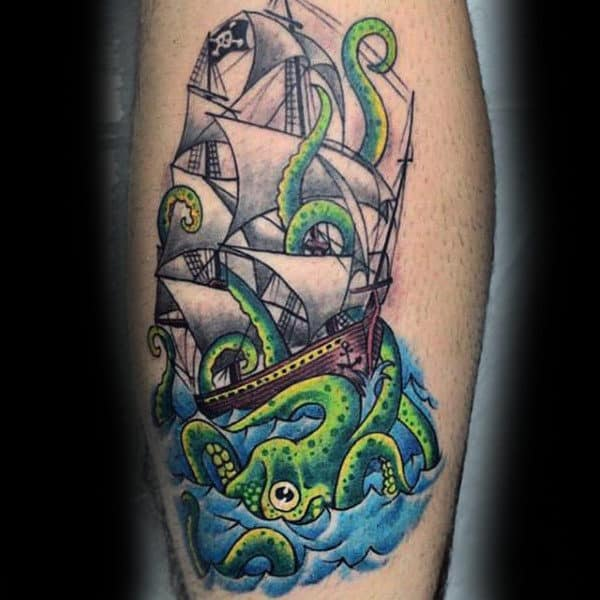 Male Forearms Green Octupus Tentacles New School Tattoo