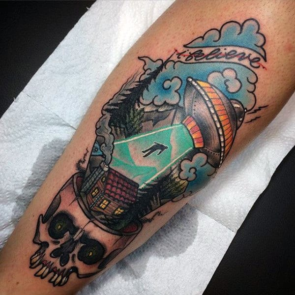 Male Forearms Green Spotlight Ufo Tattoo With Skull