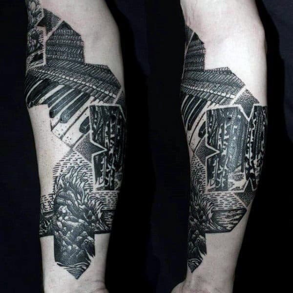 Male Forearms Grey Black Dotwork Tattoo