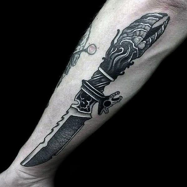 Male Forearms Grey Dagger Tattoo