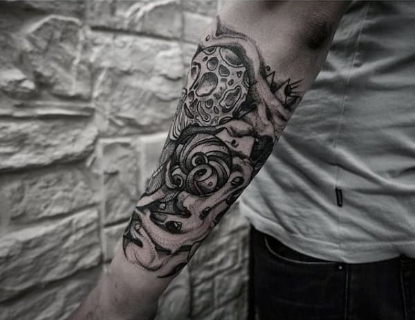 Male Forearms Grey Dotwork Tattoo