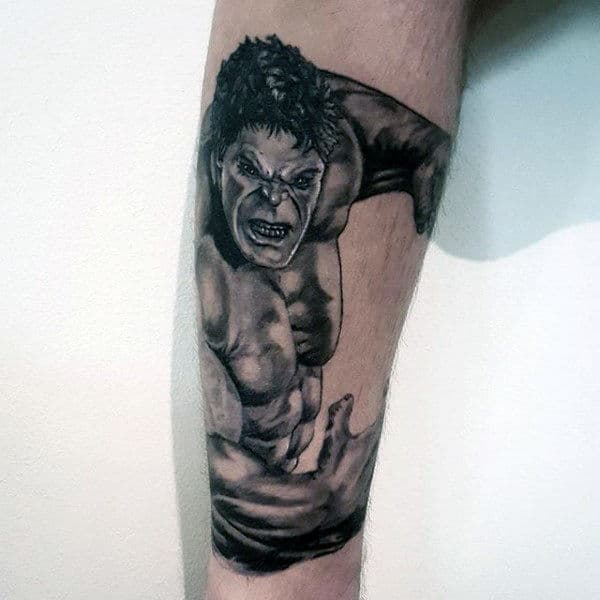 Male Forearms Grey Hulk Tattoo