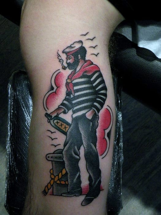 Male Forearms Guy Smoking Cigar Traditional Tattoo