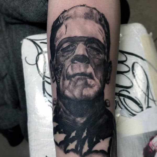 Male Forearms Halloween Tattoo