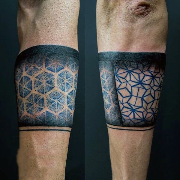 Male Forearms Honeycomb Band Tattoo