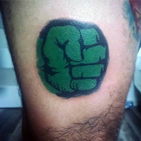 Male Forearms Hulk Fist Tattoo